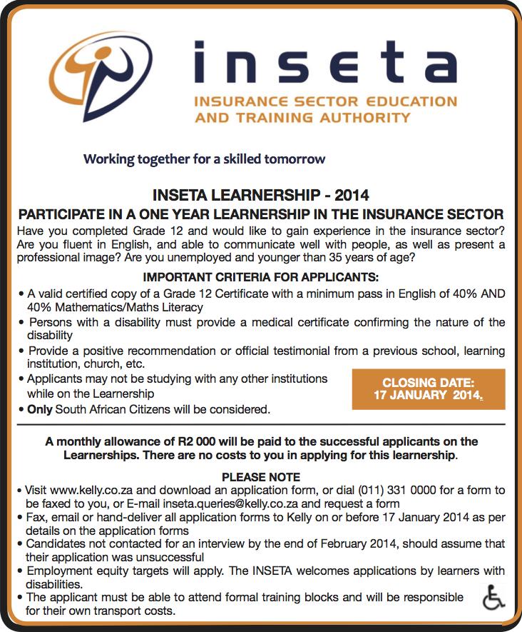 Inseta Insurance Learnerships 2014
